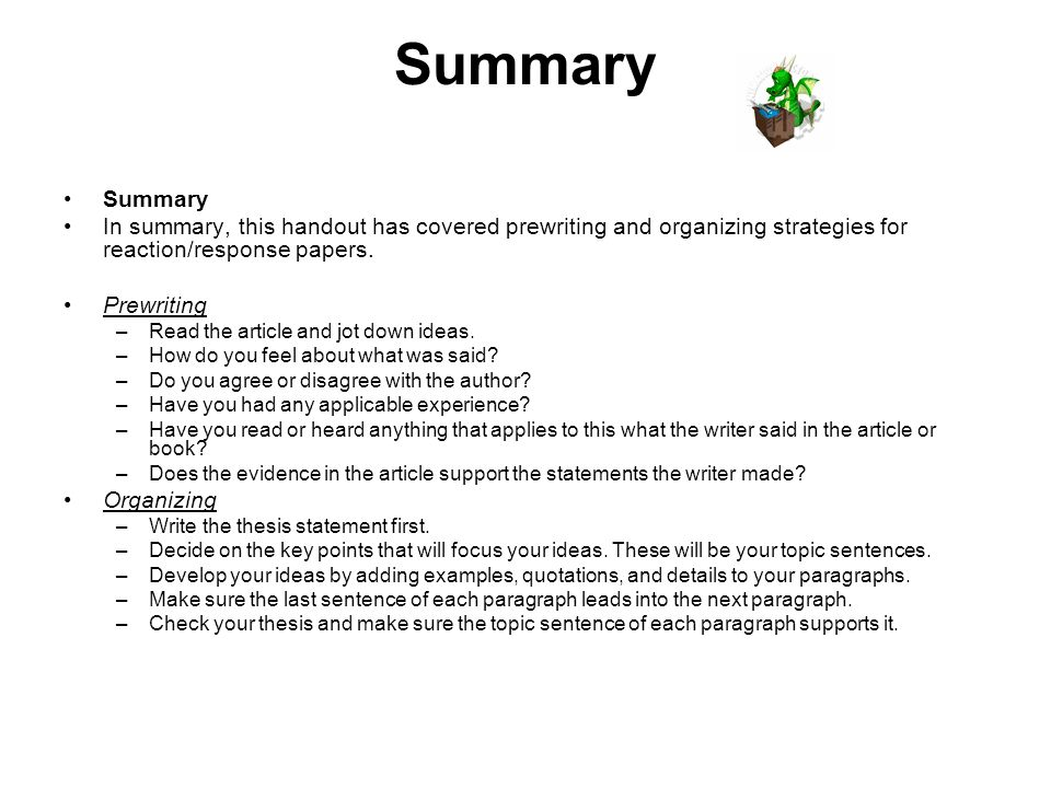 summarise the preparations that need essay The following is a sample essay you can practice quoting, paraphrasing, and summarizing example summary.