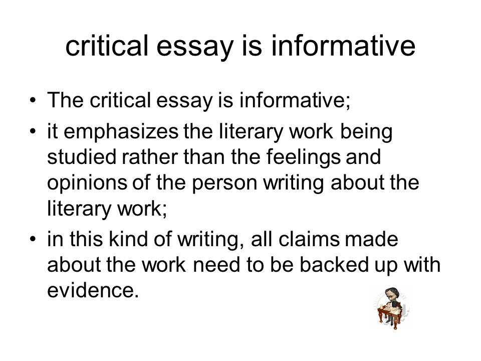 critical opinions essay So you got an assignment to write a critical analysis essay we understand it's a challenge if you've never written a critical essay before, you don't know where to.