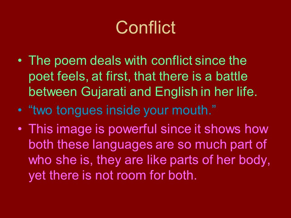 how to find the conflict in a poem