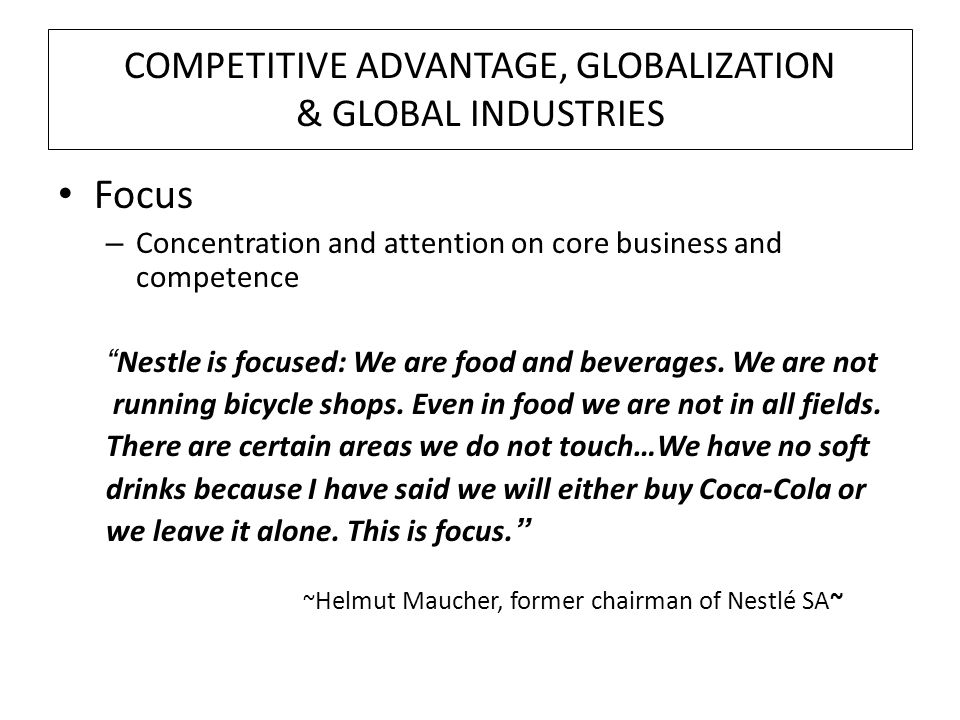 nestle adaptation or standardization Some experienced multinational marketers like uniliver, gillette and nestle  realized  this results in global, adaptation, differentiation, and local  communication.