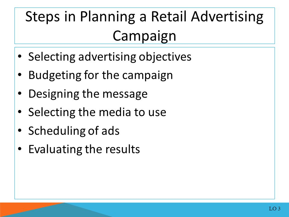 steps in planning a retail advertising campaign An advertising plan and an advertising strategy provide the framework for small businesses and their advertising agencies to develop, review and measure the effectiveness of advertising.