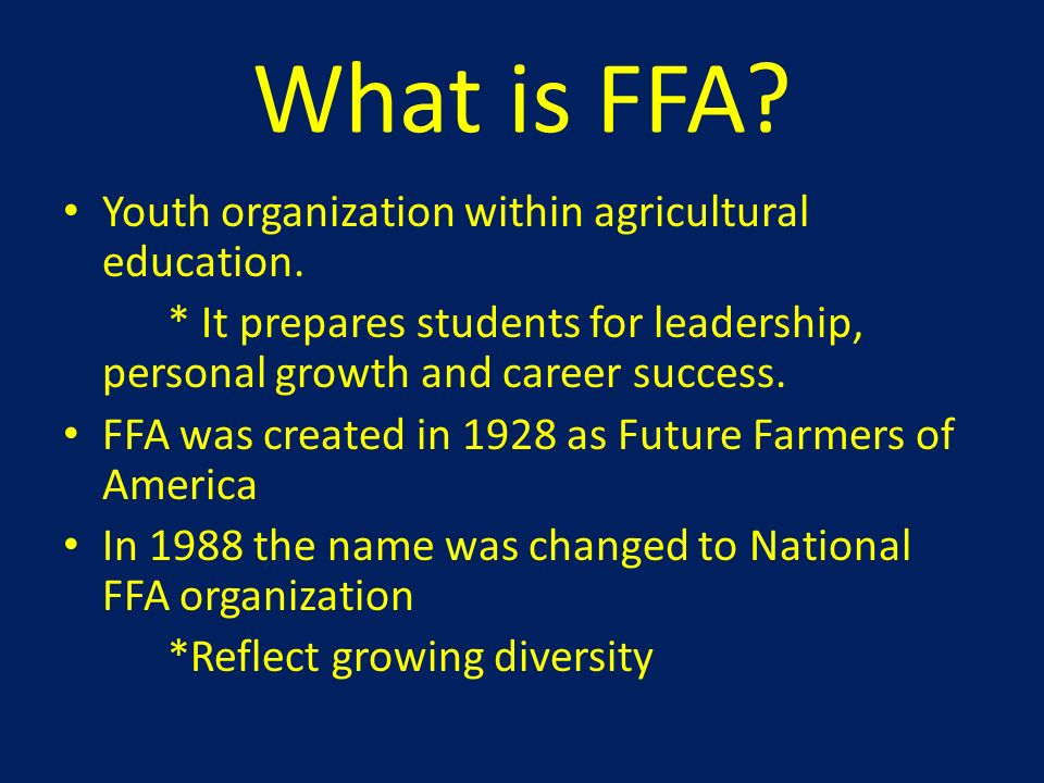 What is FFA Youth organization within agricultural education.