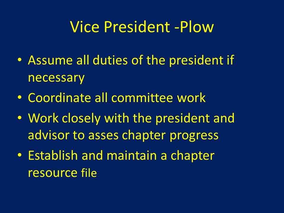 Vice President -Plow Assume all duties of the president if necessary
