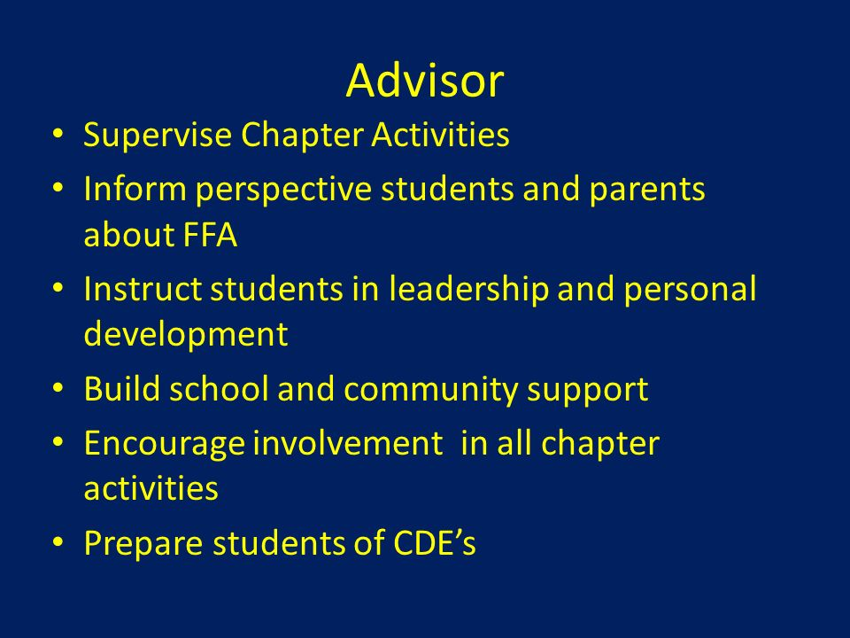 Advisor Supervise Chapter Activities