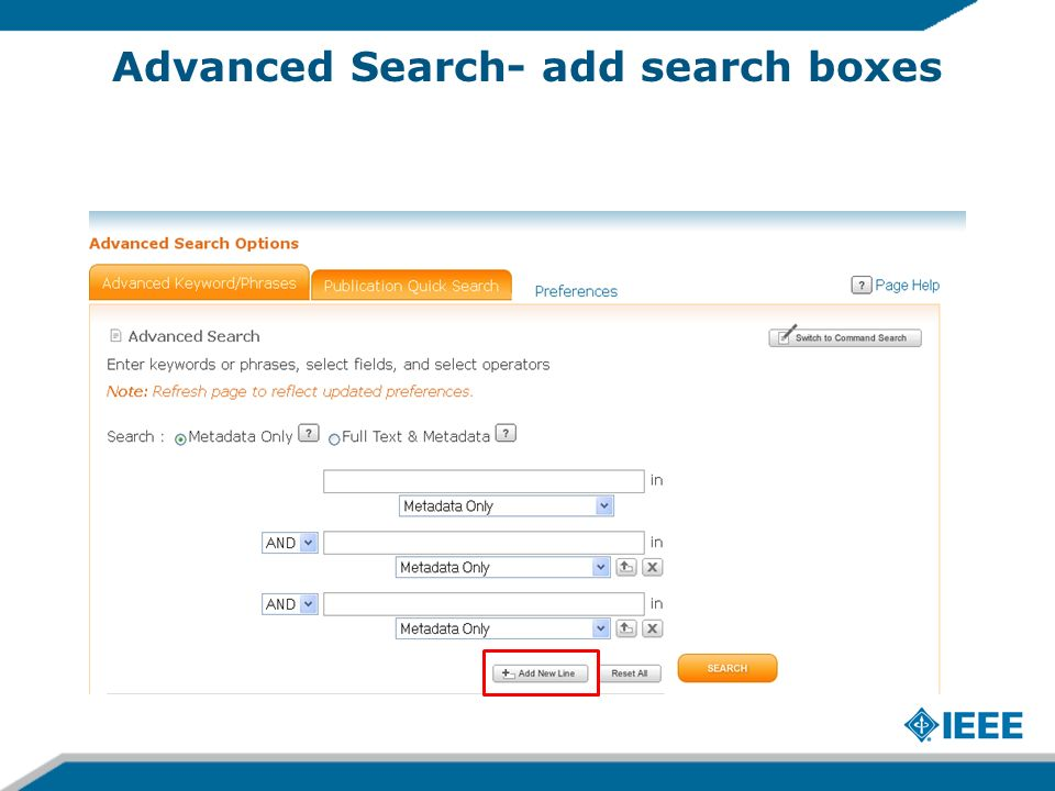Advanced Search- add search boxes