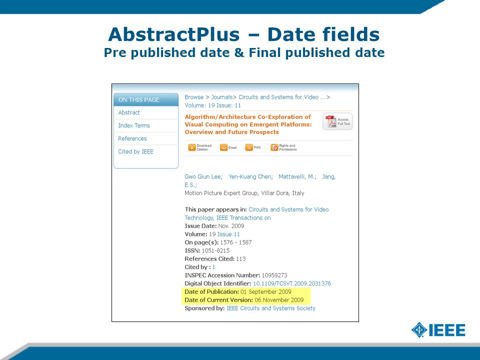 AbstractPlus – Date fields Pre published date & Final published date