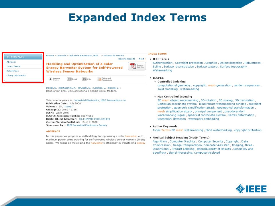Expanded Index Terms