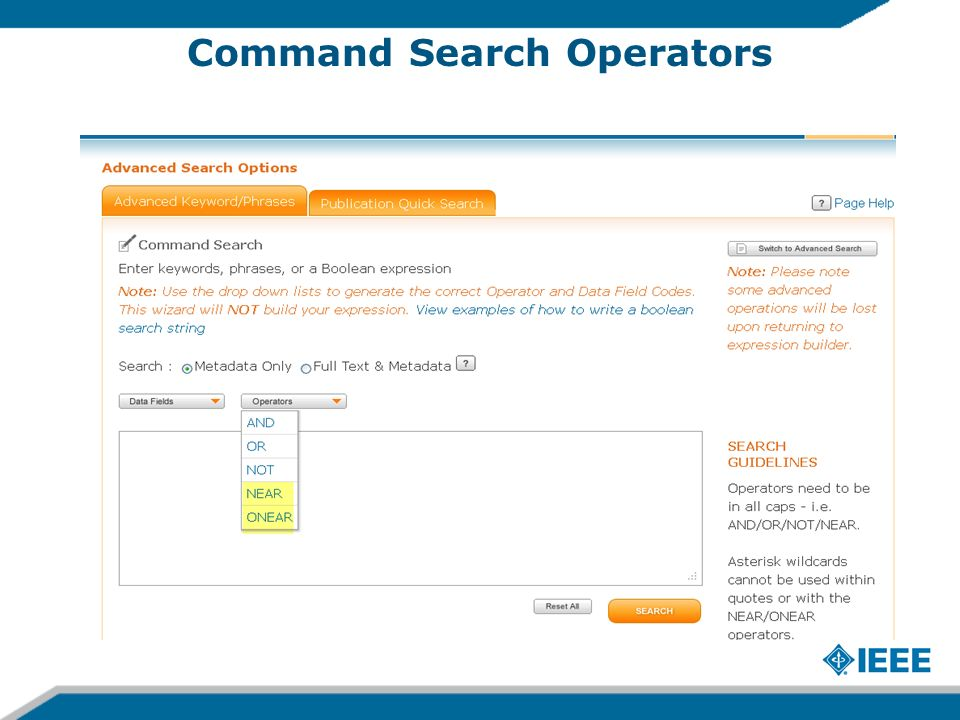 Command Search Operators