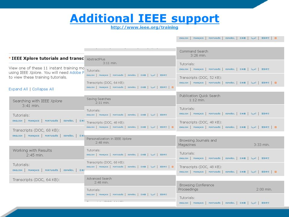 Additional IEEE support http://www.ieee.org/training
