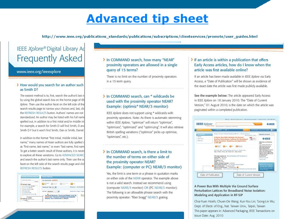 Advanced tip sheet http://www. ieee