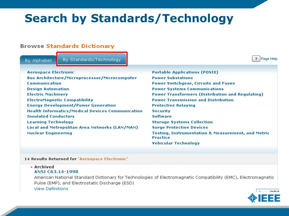 Search by Standards/Technology
