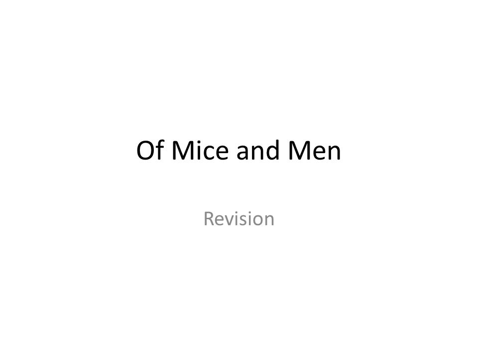 of mice men revision