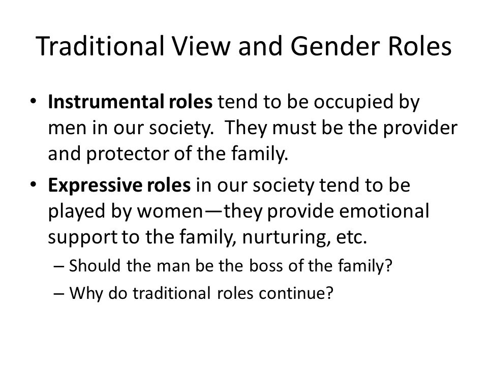 Traditional View and Gender Roles