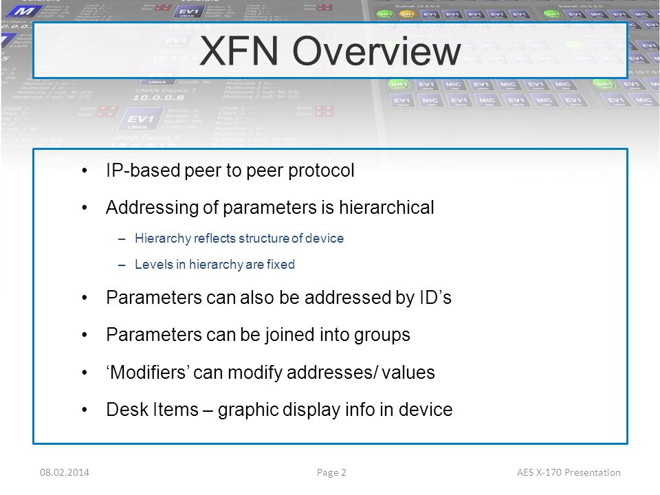 XFN Overview IP-based peer to peer protocol