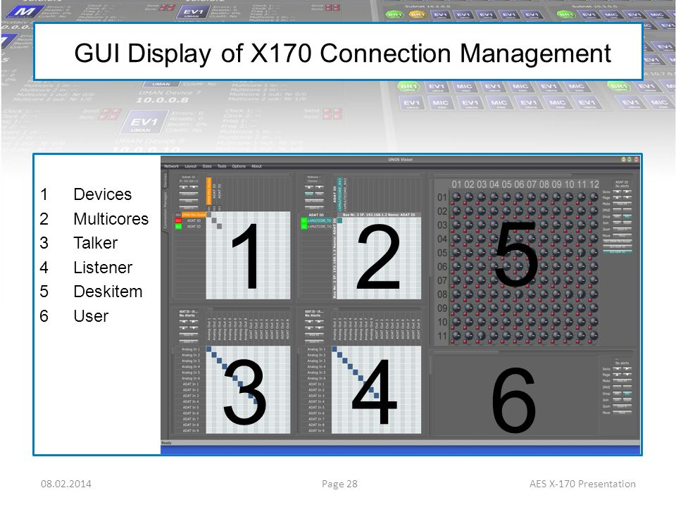 GUI Display of X170 Connection Management