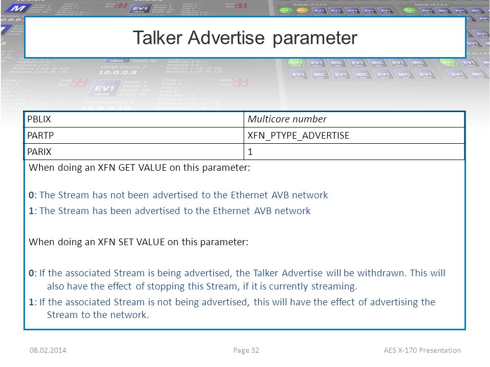 Talker Advertise parameter