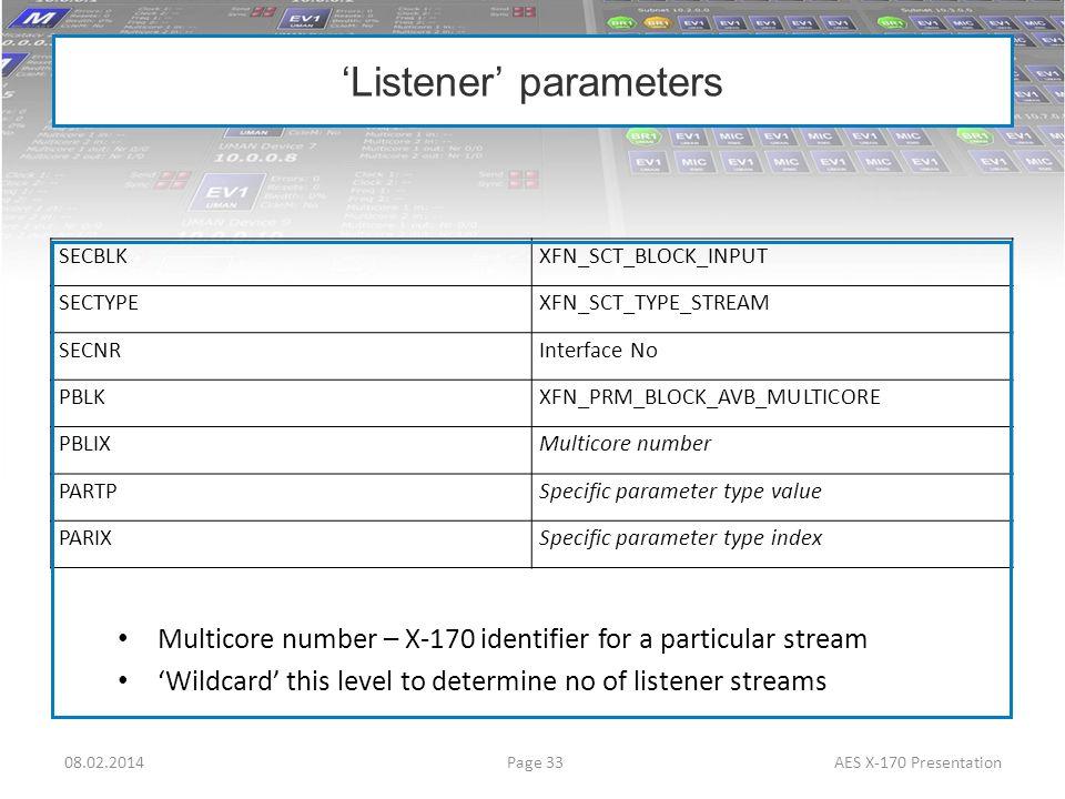 'Listener' parameters