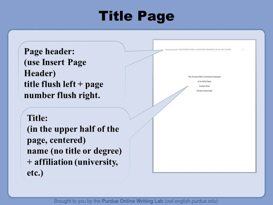 apa format title page template Creating an apa title page 1) the title this is the most important part, and should be center aligned, about halfway down the page this is the full title of the research.