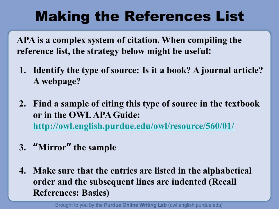 Apa formatting and style guide ppt download 28 making the references list ccuart Choice Image
