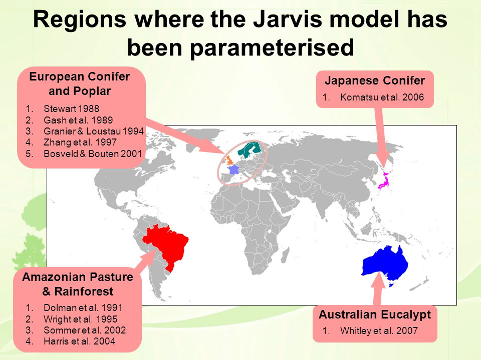 Regions where the Jarvis model has been parameterised
