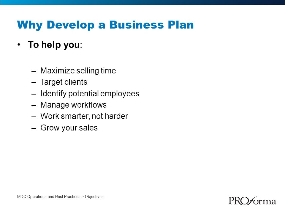 Why should you develop a business plan