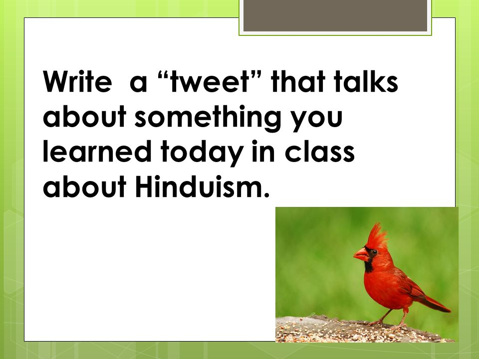 Write a tweet that talks about something you learned today in class about Hinduism.