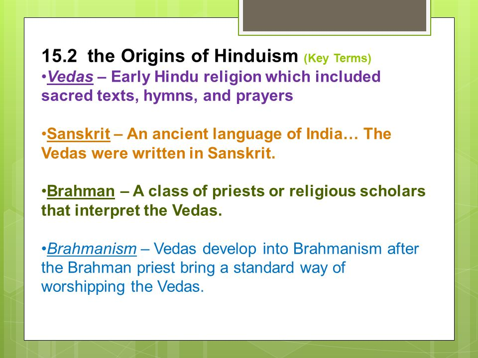 15.2 the Origins of Hinduism (Key Terms)