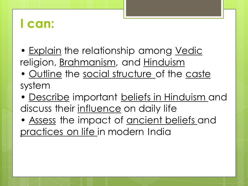 I can: • Explain the relationship among Vedic religion, Brahmanism, and Hinduism. • Outline the social structure of the caste system.
