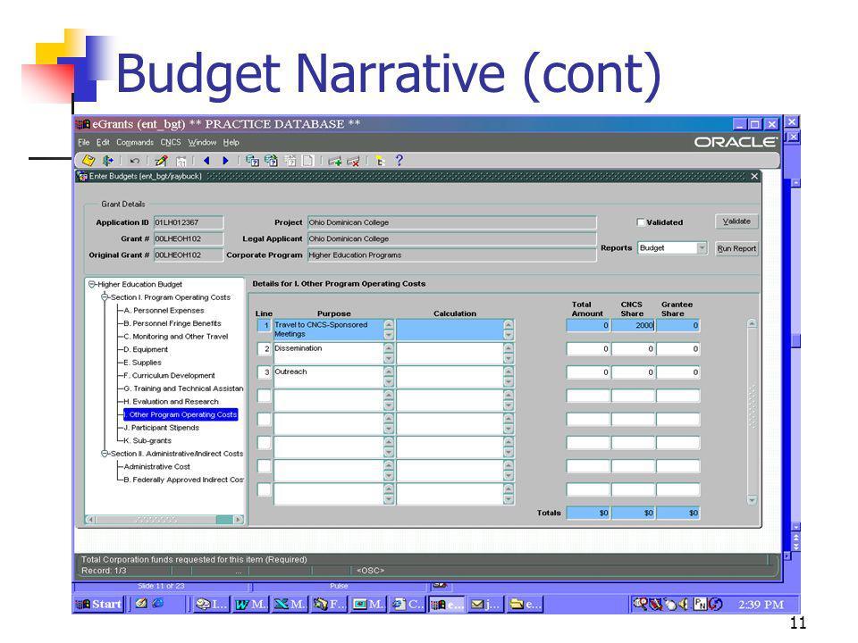 Budget Narrative (cont)