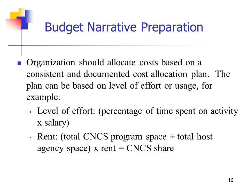 Budget Narrative Preparation