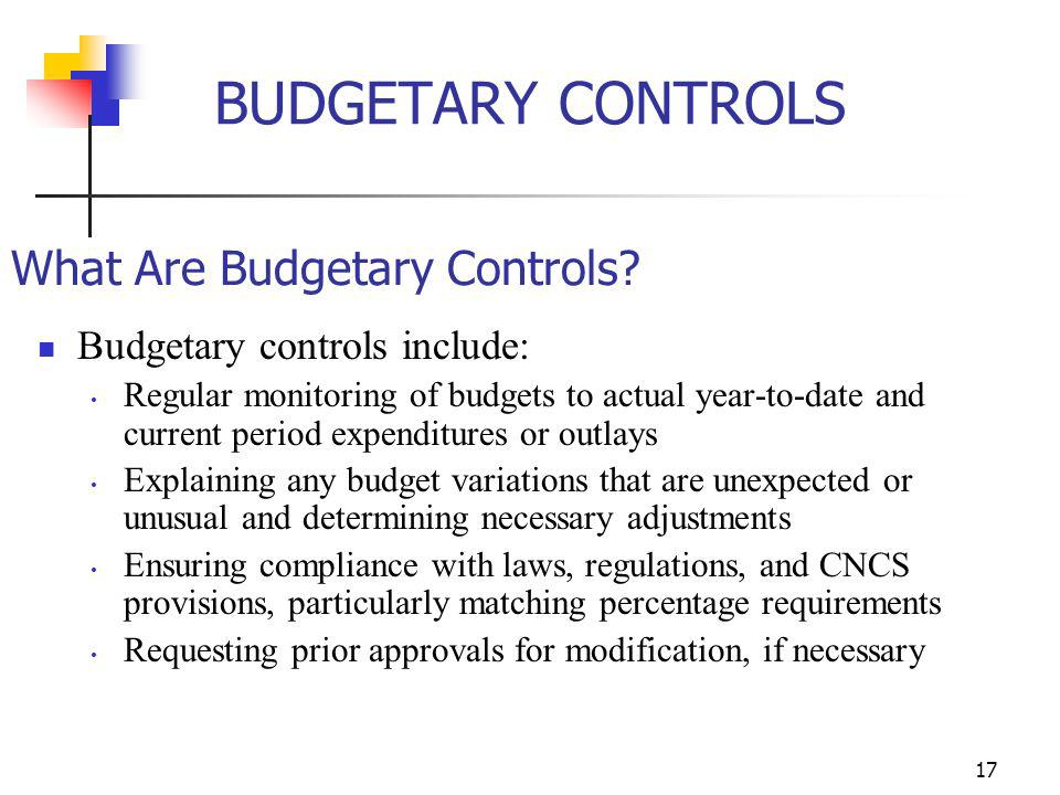 BUDGETARY CONTROLS What Are Budgetary Controls
