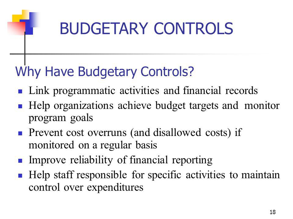 Why Have Budgetary Controls