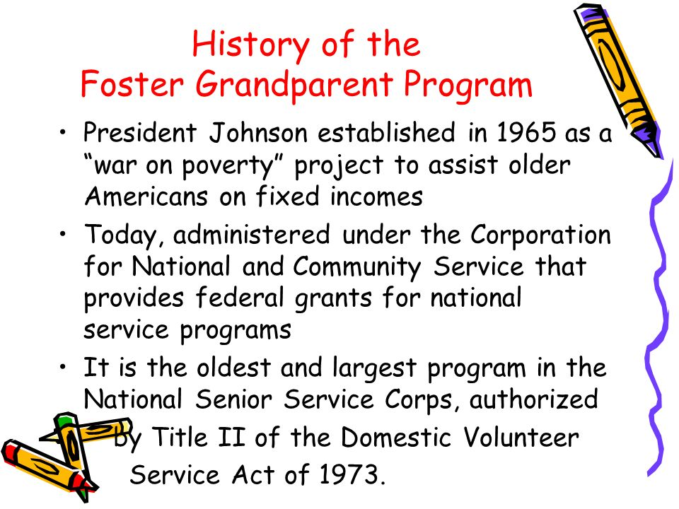 History of the Foster Grandparent Program