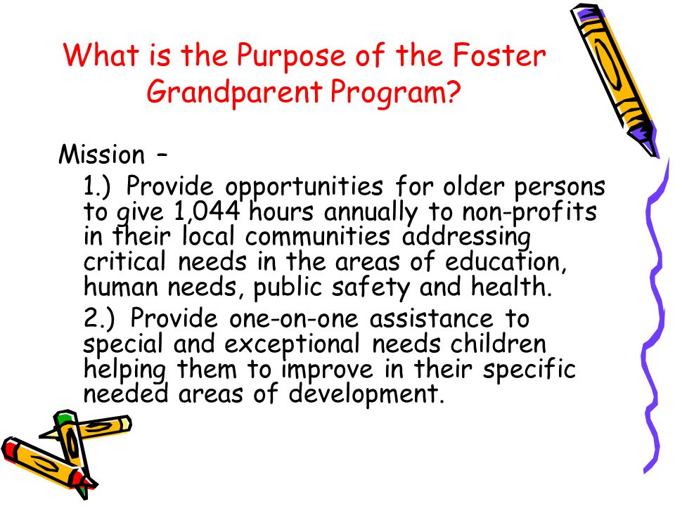 What is the Purpose of the Foster Grandparent Program