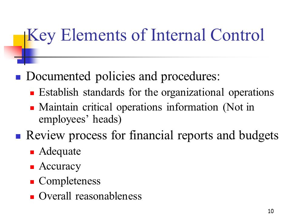 Key Elements of Internal Control