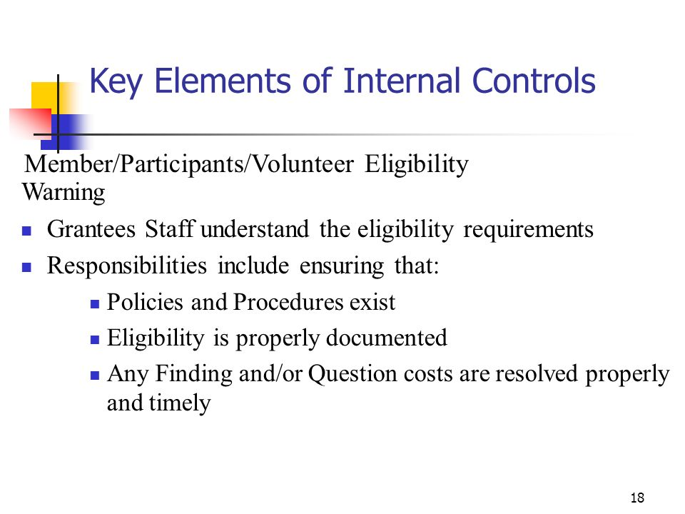Key Elements of Internal Controls