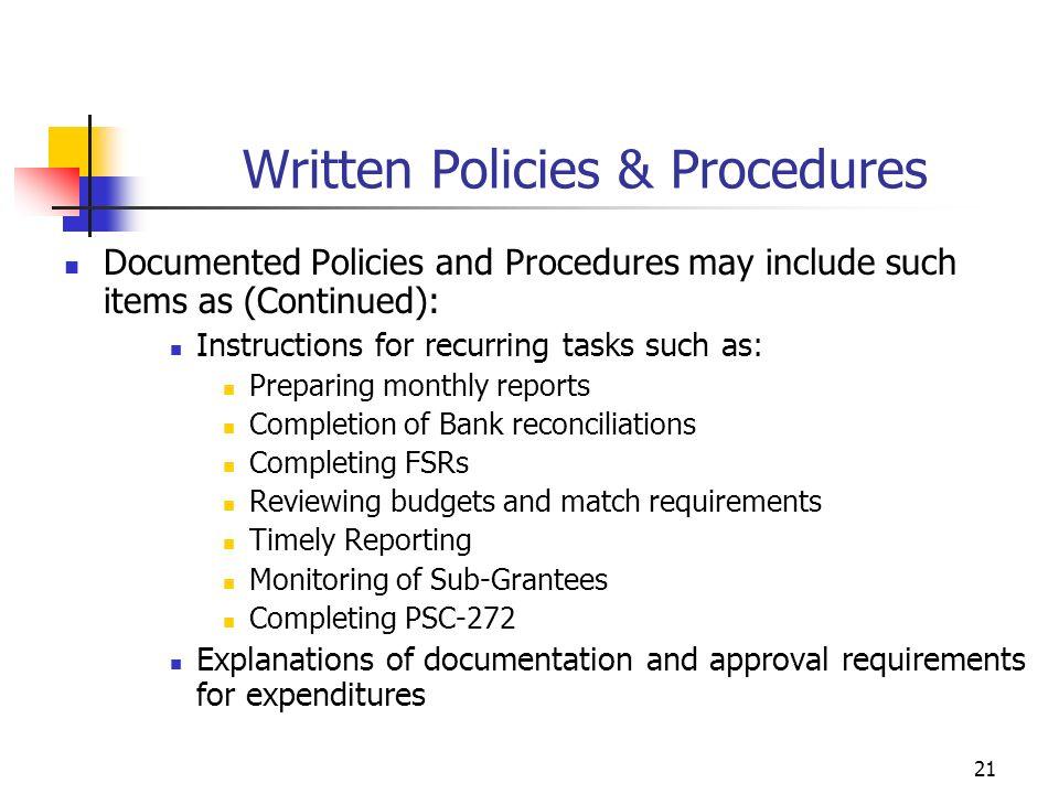 Written Policies & Procedures