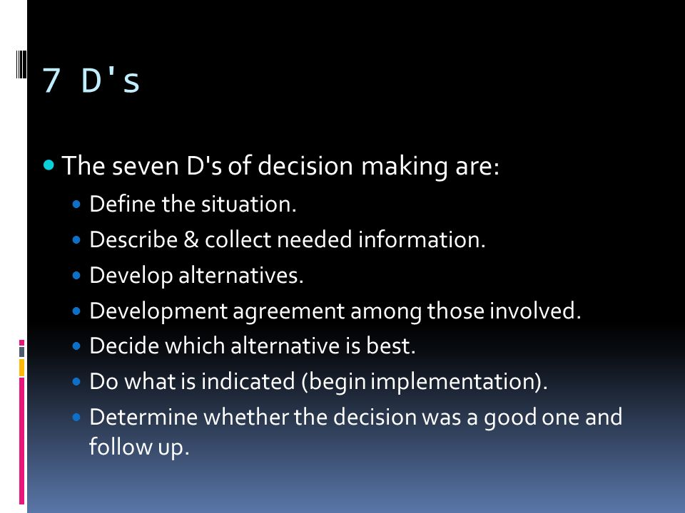 7 D s The seven D s of decision making are: Define the situation.