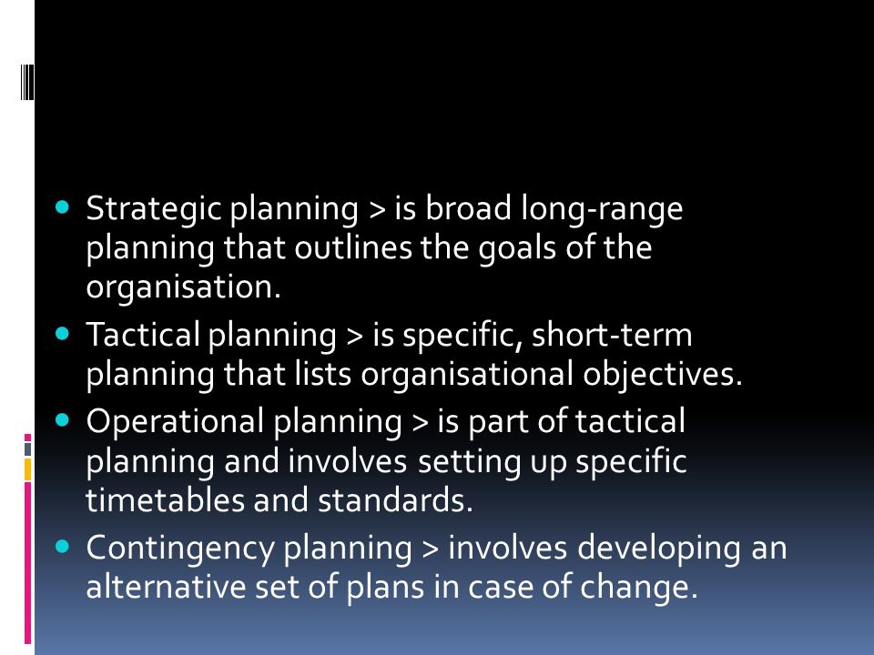 Strategic planning > is broad long-range planning that outlines the goals of the organisation.