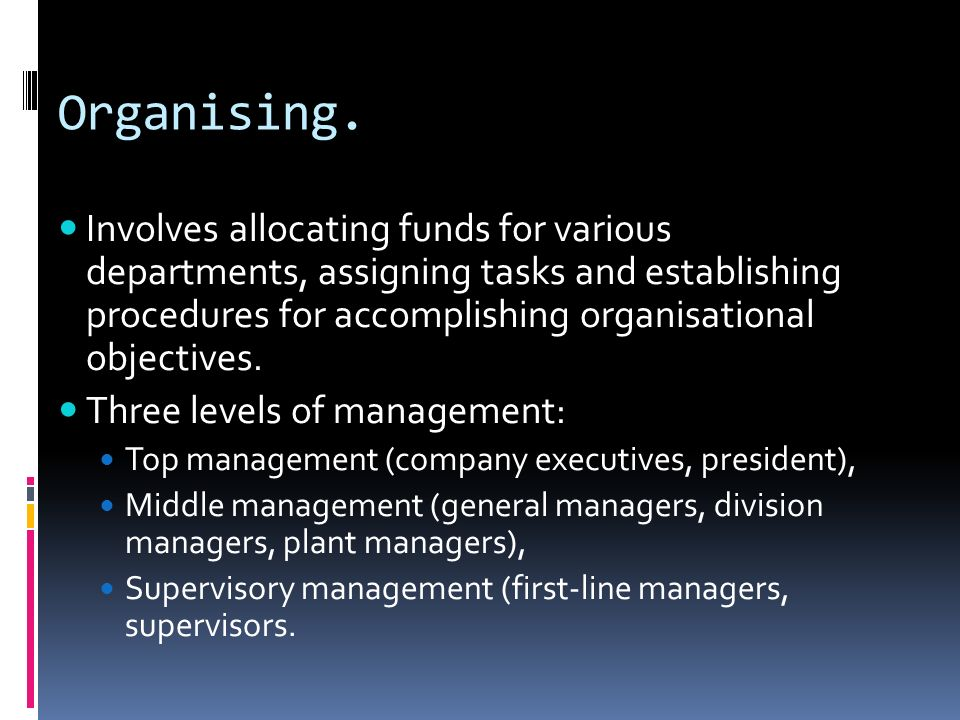 Organising.