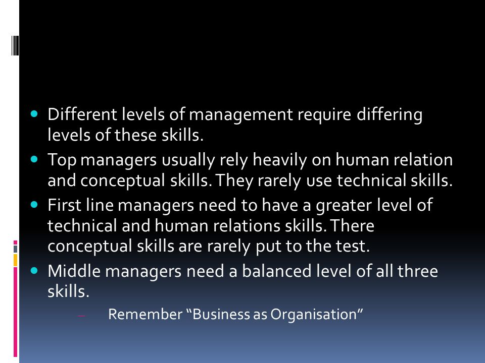 Middle managers need a balanced level of all three skills.