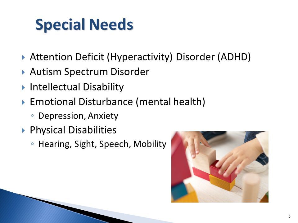 Special Needs Attention Deficit (Hyperactivity) Disorder (ADHD)