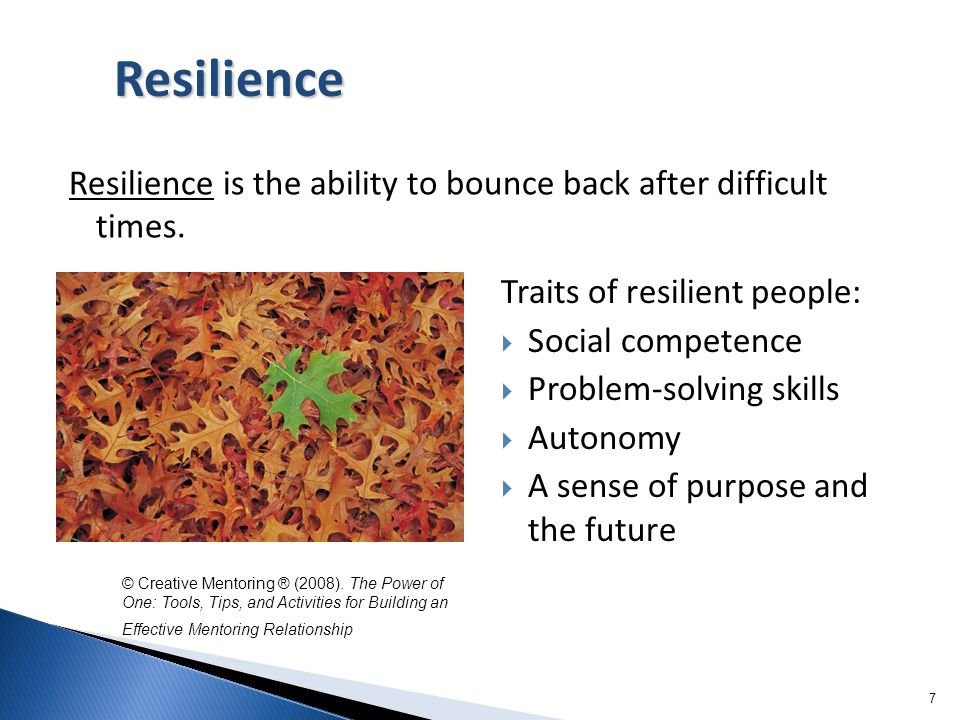Resilience Resilience is the ability to bounce back after difficult times. Traits of resilient people: