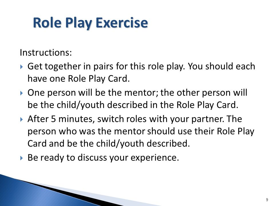 Role Play Exercise Instructions: