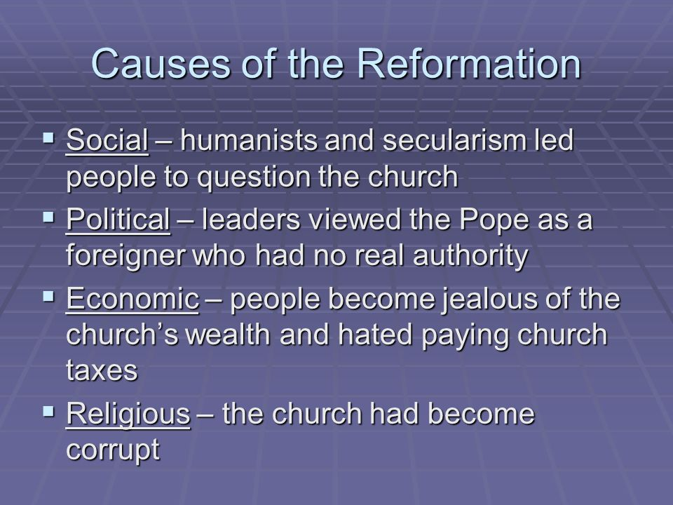 cause of the reformation The 16th-century european upheaval known as the reformation fragmented western christendom centered in germany, the lutheran reformation sought to reduce the importance of the catholic sacraments, rejected the catholic belief that during the eucharist priests transform bread and wine into christ's body and blood, elevated the bible over the pope as the ultimate authority on faith and morals.