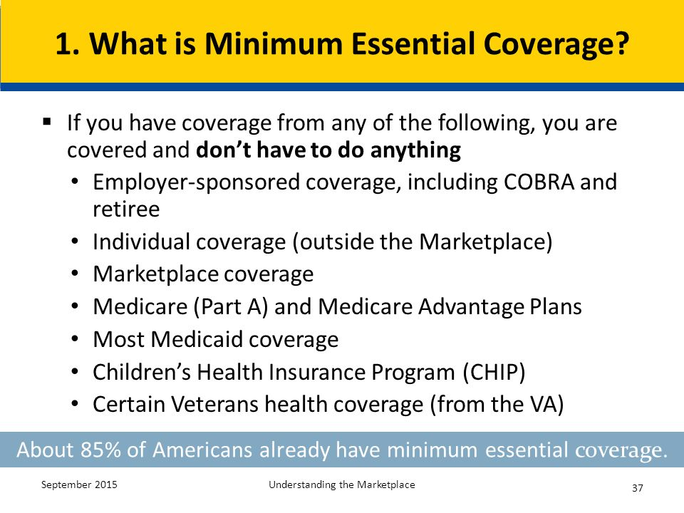 Understanding the health insurance marketplace ppt download for Minimum essential coverage plan design