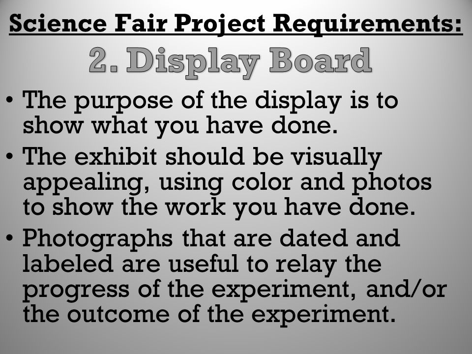 Science Fair Project Requirements: