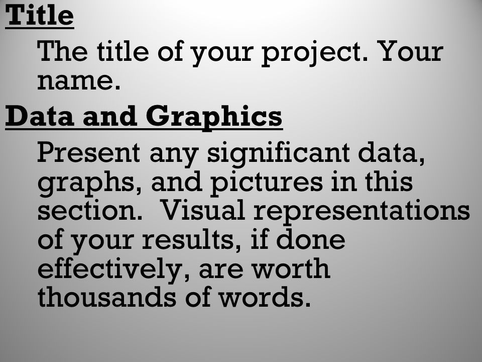 Title The title of your project. Your name. Data and Graphics.