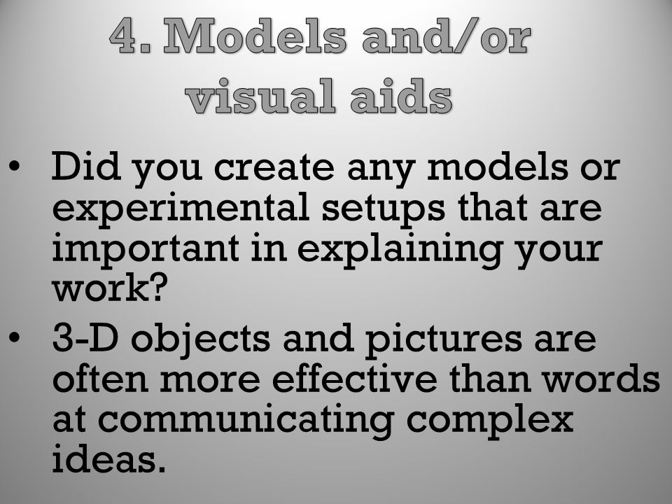 4. Models and/or visual aids