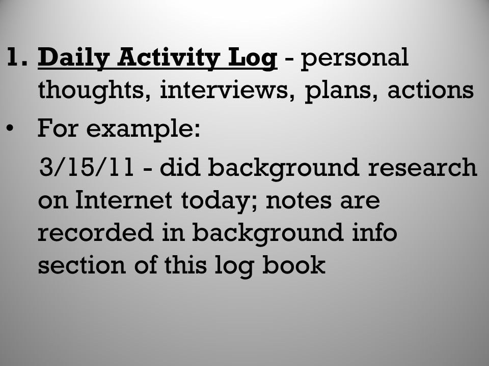 Daily Activity Log - personal thoughts, interviews, plans, actions